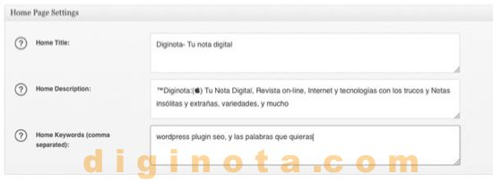 HomePage establecer All In One SEO Pack de