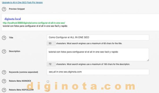 Publique SEO en All In One SEO Pack de