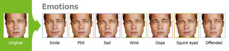Cambio de cara emoción en el rostro aplicación Cartoon
