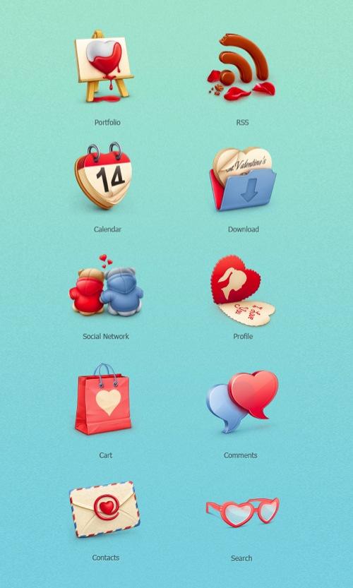 Colección de iconos o recursos gráficos para el día de San Valentin gratis 1