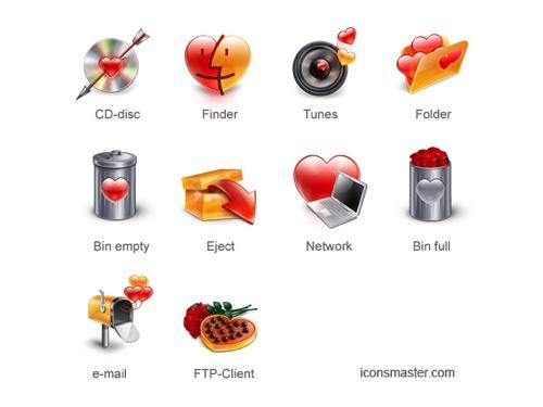 Colección de iconos o recursos gráficos para el día de San Valentin gratis 2