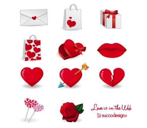 Colección de iconos o recursos gráficos para el día de San Valentin gratis 6