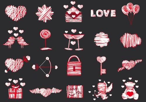 Colección de iconos o recursos gráficos para el día de San Valentin gratis 7
