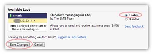 Habilitar SMS (mensajes de texto) en el chat en Gmail Lab