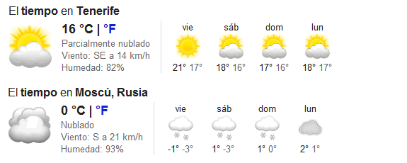 Google: Tiempo o clima (humedad, viento, temperatura, predicción...)