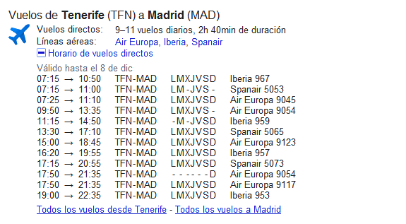 Google: Información de vuelos