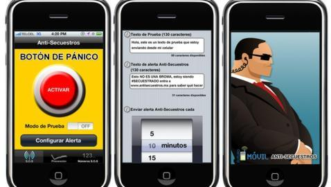 Carátulas de la aplicación «anti-secuestros»