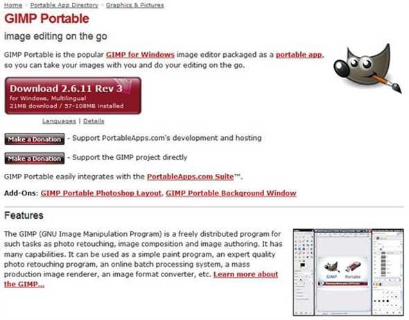 Gimp Portable Apps