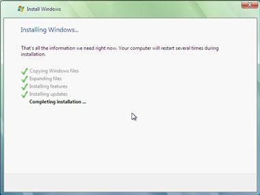 Truco Instalar Windows Vista completando instalación