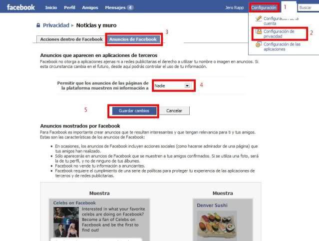 Quita tu foto de las Propagandas de Facebook 1