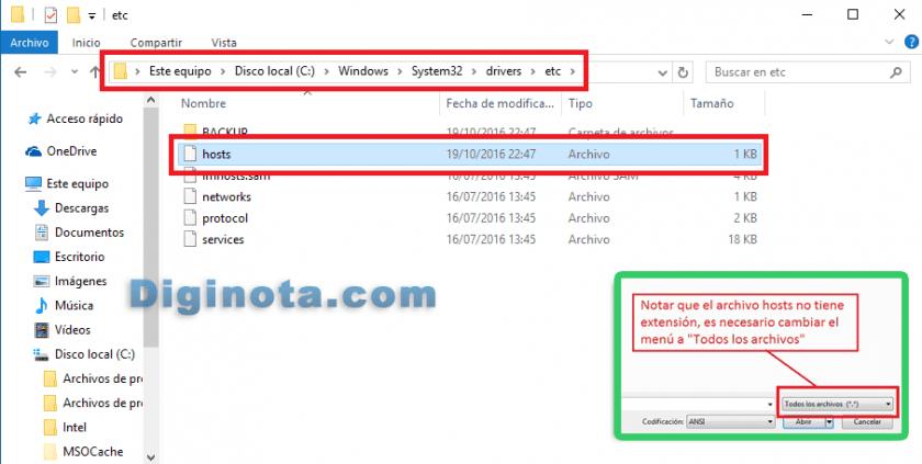 como buscar el archivo host
