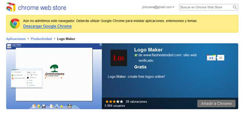 Extension de Google Chrome para Crear logos personalizado: Logo Maker 0