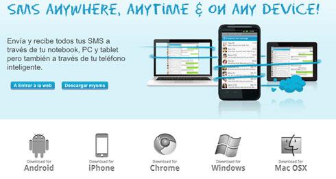Con mysms puede enviar y recibir mensajes SMS desde tu Notebook , PC, MAC y Tablet  mediante Android 0