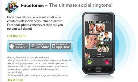 Mira fotos de los amigos de Facebook mientras te llaman con: Facetones 0