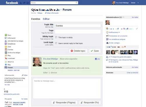 Sencillo sistema de foros para las páginas de Facebook con: Forum for pages 0