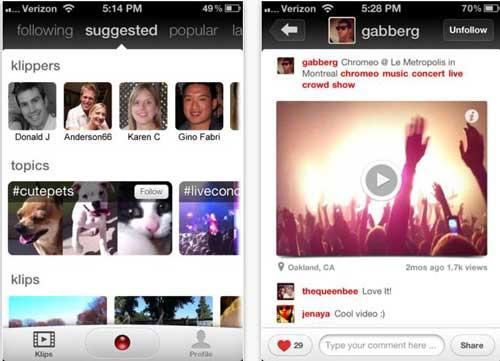 Compartir vídeos con tus amigos desde el iPhone con: Klip 1