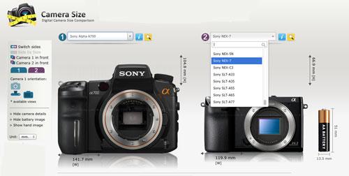 Herramienta para comparar el tamaño de las cámaras 3