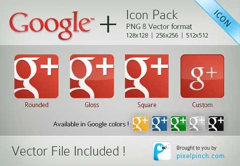 Set de iconos vectoriales gratuitos de Google plus 0