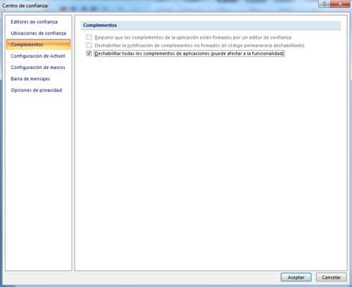 """Como solucionar en Office el error """"Se produjo un problema al enviar el comando al programa"""" 2"""