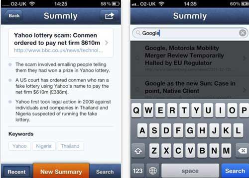 Una manera más sencilla de Buscar y navegar en la red desde el iPhone con: Summly 0