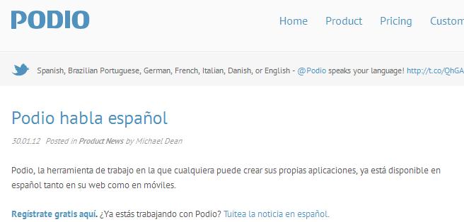 Servicio para crear aplicaciones iOS o Android sin saber programar y ahora PODIO habla español 0