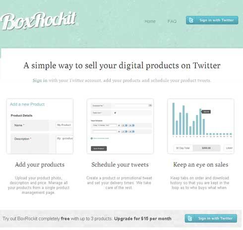Servicio web para vender sus productos digitales a través de Twitter: BoxRockit 3