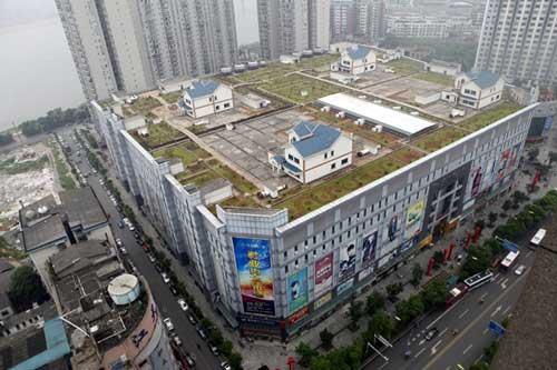 En China construyen casas hasta en los techos de los centros comerciales 1