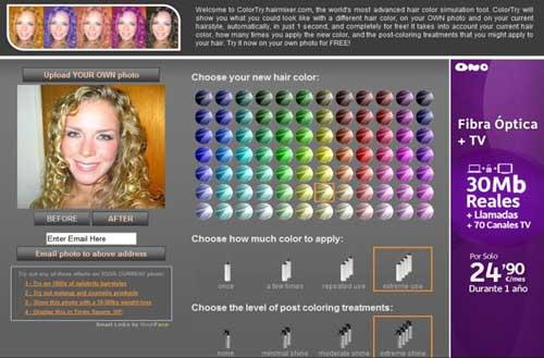 En esta Web hay una aplicación on-line para probar como quedaría tu cabello en diferentes colores: ColorTry 0