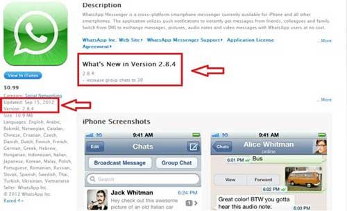 Whatsapp para iOS se actualiza e incrementa el chat de grupo a 30 personas 1