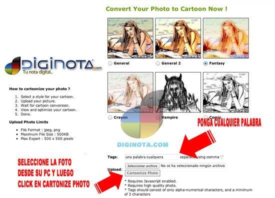 fotos a caricaturas o dibujos online