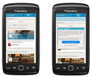 La nueva aplicación de Foursquare para BlackBerry es la primera que permite consultar información sin iniciar sesión 0