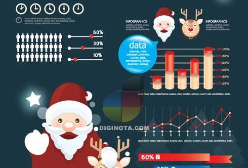 Completo set de vectores para hacer infografias de navidad 2