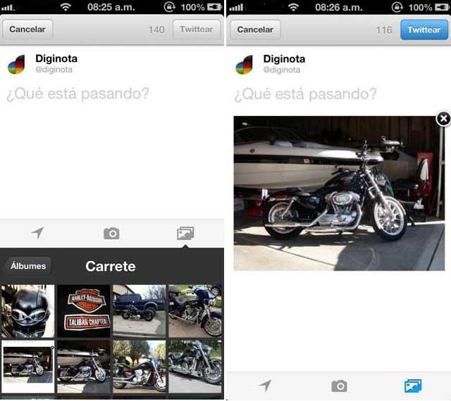 Captura de pantalla del nuevo twitter para iphone
