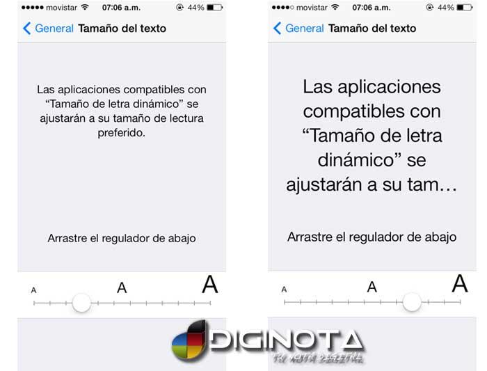 Ajuste tamaño de letra en iphone