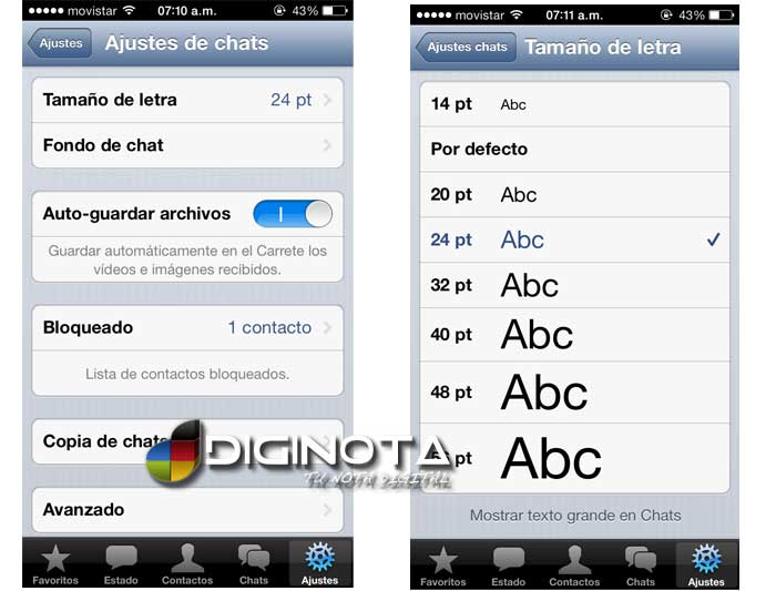 ajuste tamaño de letra en chat whatsapp