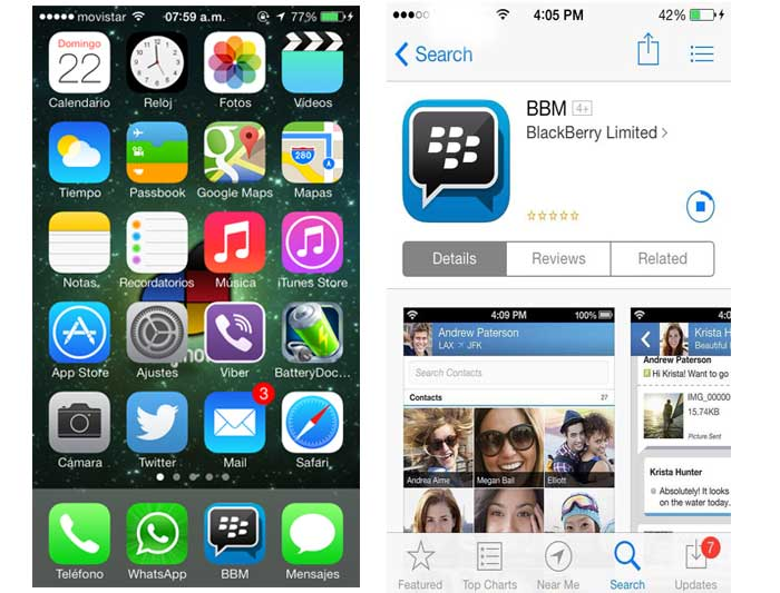 bbm blackberry messeger para iphone y android