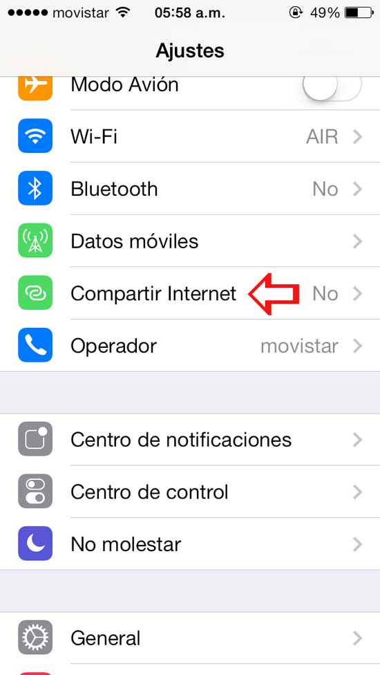 compartir internet iphone como moden