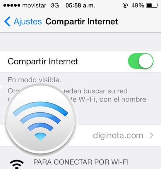 Como compartir el internet desde un iPhone como moden