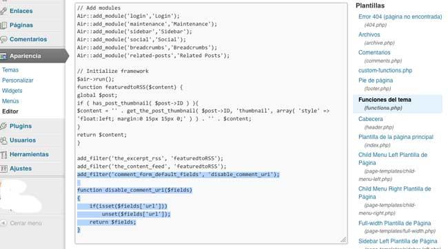 Cómo eliminar el Campo Website o URL del formulario de contacto en WordPress