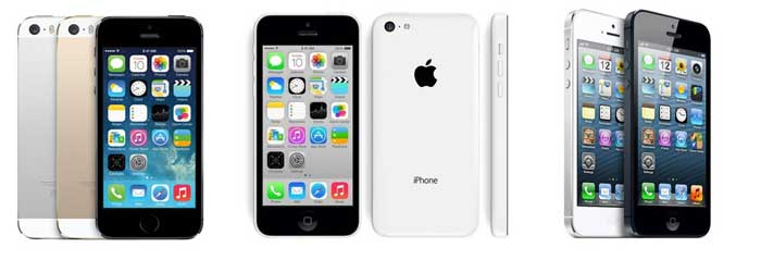 Apple iPhone 5S y 5C vs Apple iPhone 5 tabla comparativa