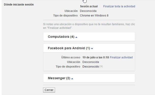 cerrar sesion facebook remotamente