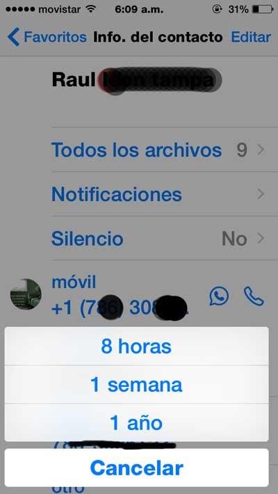 Whatsapp permite ahora silenciar contactos fastidiosos temporalmente