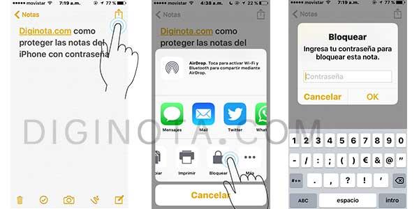 poner clave o contraseña en notas de iPhone o iPad