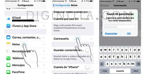 clave a notas iPhone y iPad