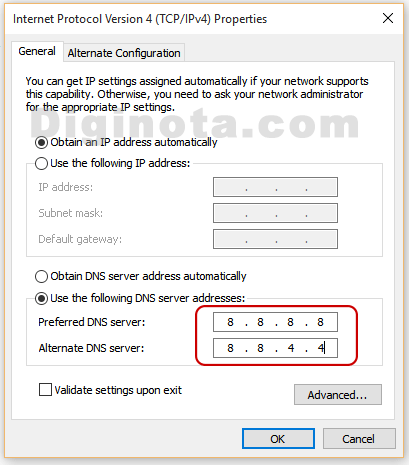 donde poner DNS google
