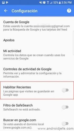 no guardar historial web en android