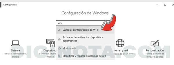 configuración wifi windows 10