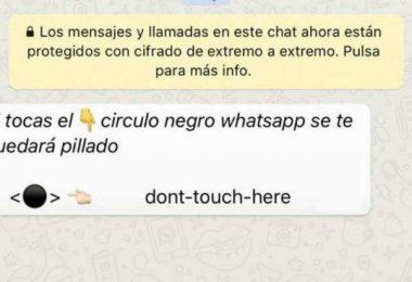 el botón negro de whatsApp no tocar que te bloquea el móvil