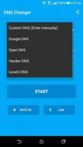 DNS Changer en la play store google