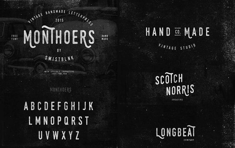 Monthoers Handmade free font Letterpress